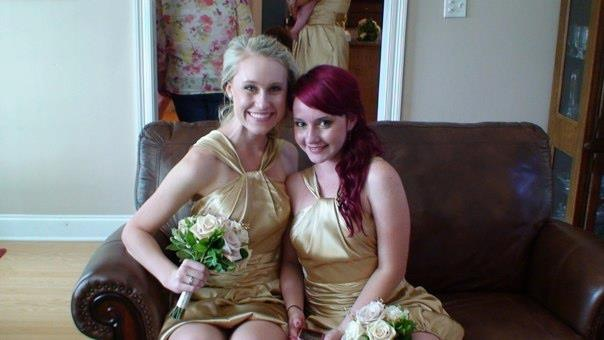 My friend, Katie, and I as bridesmaids in my best friend's wedding!